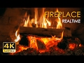 4K Realtime Fireplace - Relaxing Fire Burning - 3 Hours - No Loop - Ultra HD - 2160p