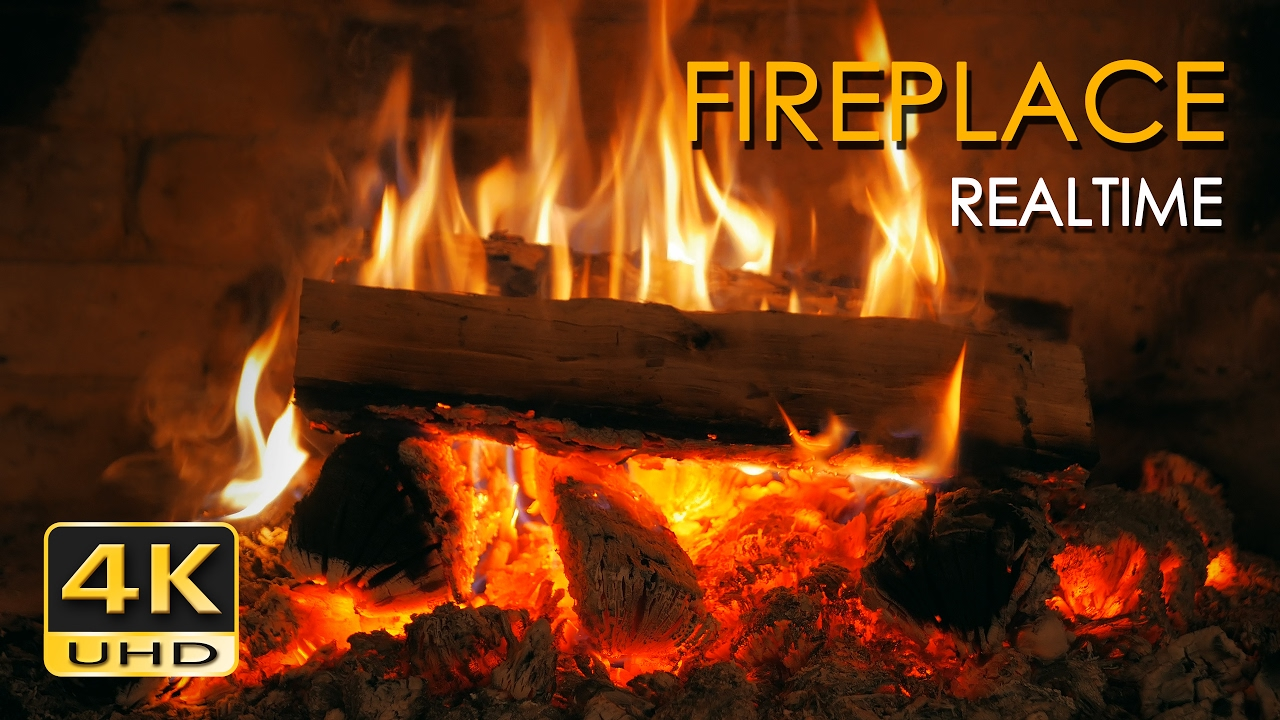 4k Realtime Fireplace Relaxing Fire Burning Video 3