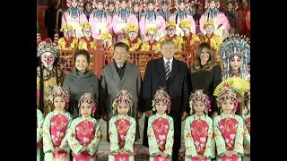 Chinese President Xi Jinping, US President Donald Trump Watch Peking Opera at Forbidden City