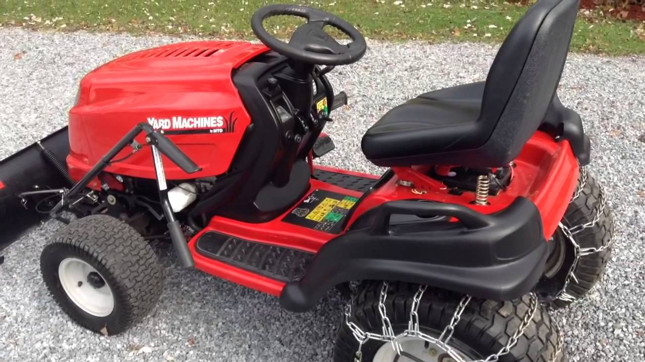 mtd yard machines 24hp garden tractor with plow and chains