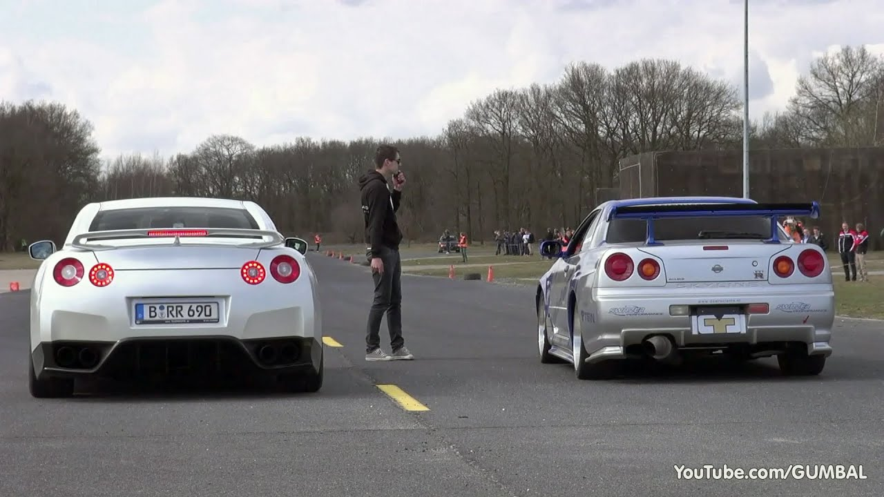 Nissan Skyline GT R34 Mines Stage 2 +++ Vs Nissan GT R Switzer P800    YouTube