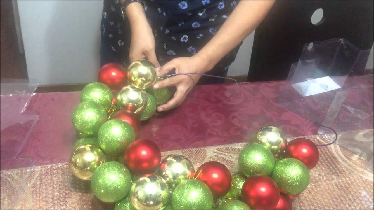 Como hacer una corona navide a con esferas youtube - Como hacer coronas navidenas ...