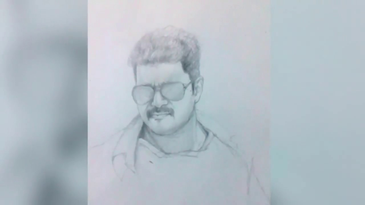 Mersal Vijay S Exclusive Pencil Drawing Youtube