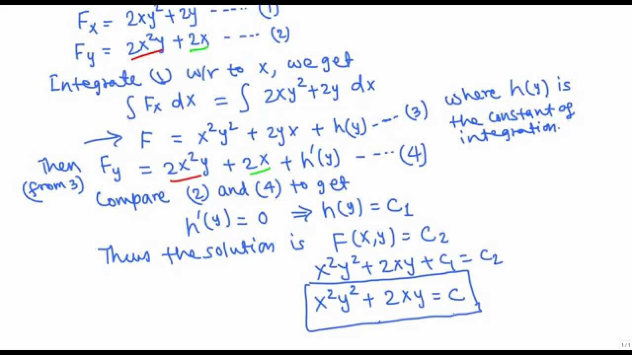 Solving Exact Differential Equations Example 1 Youtube