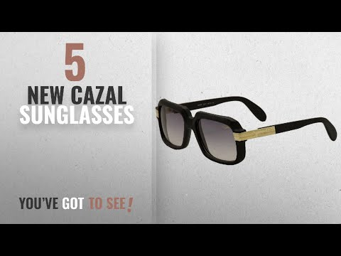 Top 10 Cazal Sunglasses [ Winter 2018 ]: Cazal 607 Sunglasses 011 Matte Black Gold/Grey Gradient