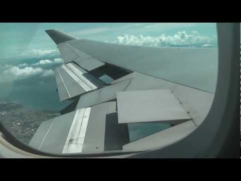 747-400 Philippine Airlines turning speed brake Descent into Davao from Manila in HD