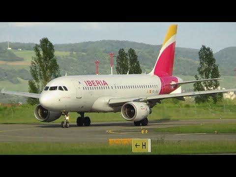 [HD] NEW Iberia A319 [EC-JXJ] taxi and takeoff at Basel-Mulhouse-Freiburg Airport
