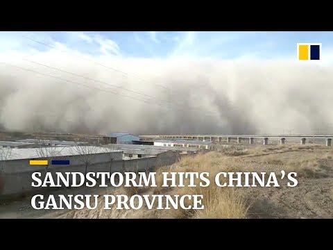 Massive sandstorm engulfs northwest China's Gansu province