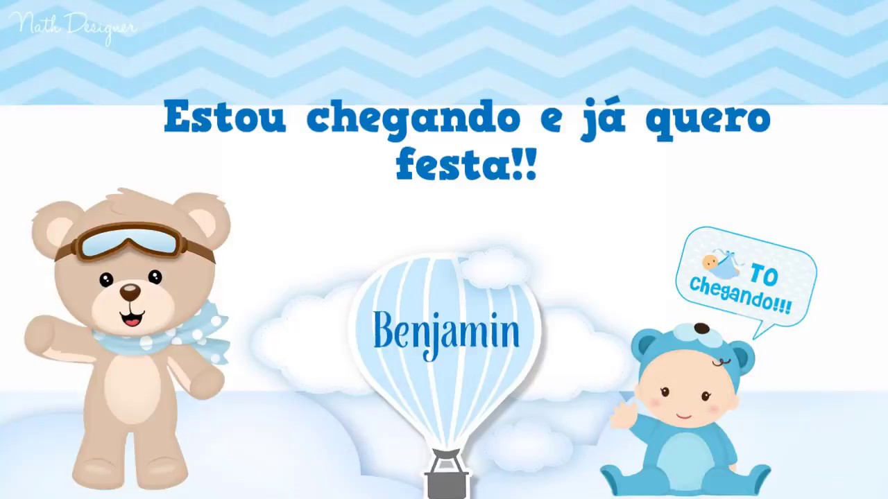 Convite Animado Urso Baloeiro Chá De Bebê Benjamin Nath Designer