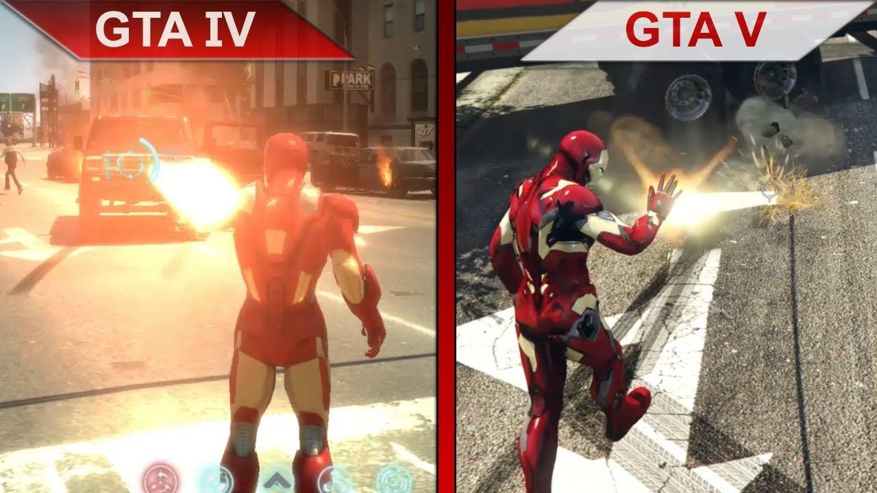 THE BIG GTA COMPARISON 4   GTA IV vs  GTA V IRON MAN MODS