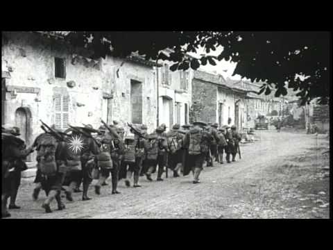 US  5th Marine Regiment greet villagers in Gondrecourt, France. HD Stock Footage