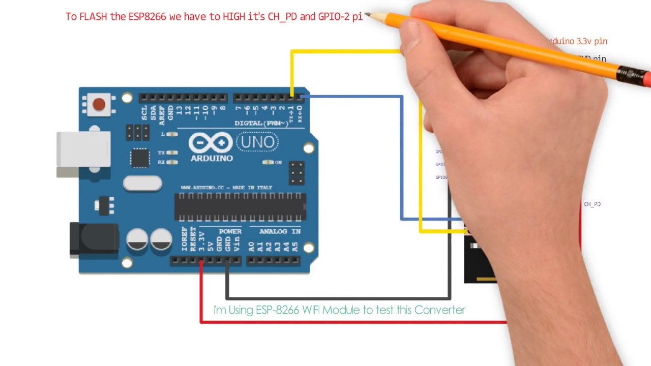 Arduino As USB to TTL Converter and program ESP8266 with Arduino uno