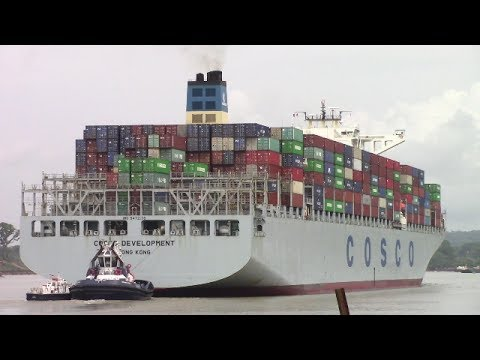 First 13000 TEU Container Ship Transits Panama Canal - COSCO DEVELOPMENT at Gamboa (May 2, 2017)