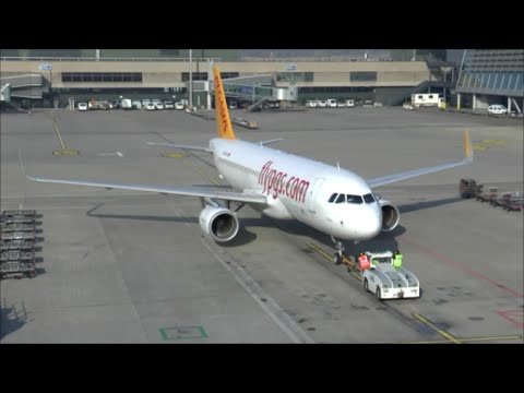 Pegasus A320-WL pushback, engine start & take-off at Zurich Airport - 01/11/2014
