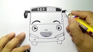 cara menggambar mobil tayo tampak depan dengan mudah sekali