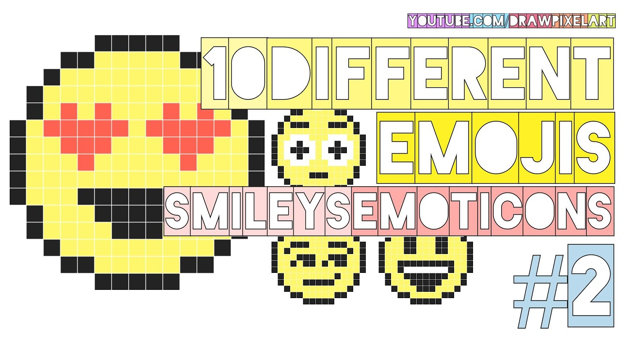 how to draw 10 different emojis 2 emoticons smileys chat doodle pixel art perler beads youtube