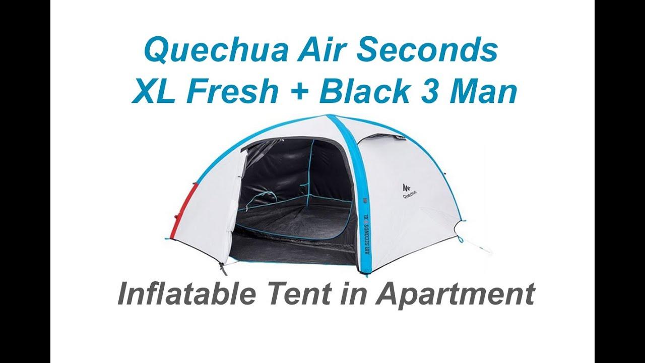 #4 Quechua Unboxing Air seconds XL fresh black 3 man inflatable Tent Decathlon Apartment  sc 1 st  YouTube & 4 Quechua Unboxing Air seconds XL fresh black 3 man inflatable ...