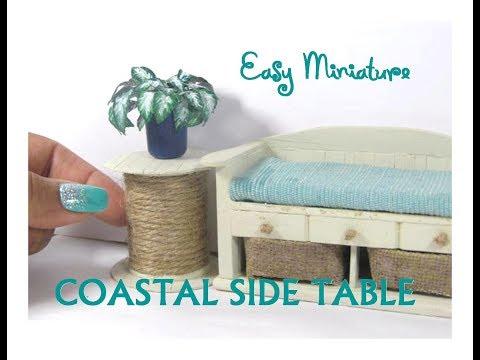Easy DIY Coastal Nautical Spool Side Table Dollhouse Miniature Furniture