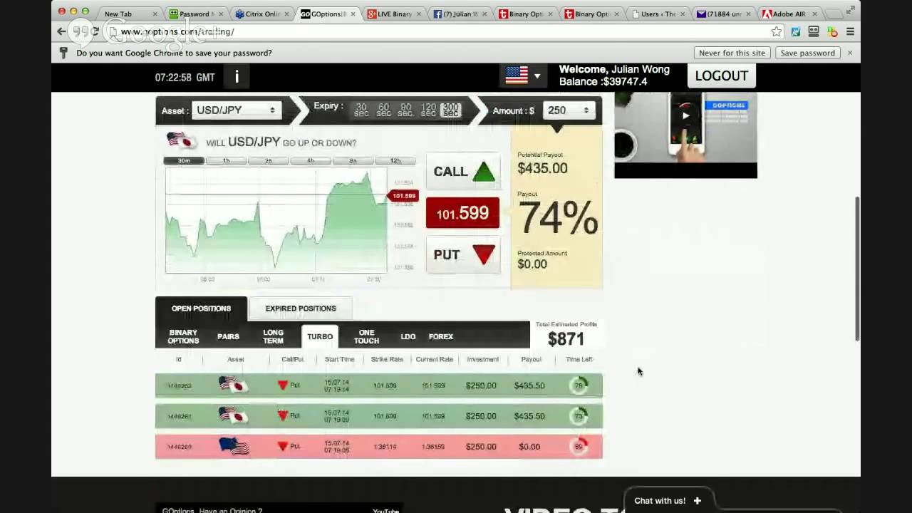 Live binary option trading room