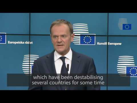 Donald Tusk comments on European Council's first working session - Highlights