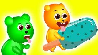 Mega Gummy bear eating ice cream | Finger Family