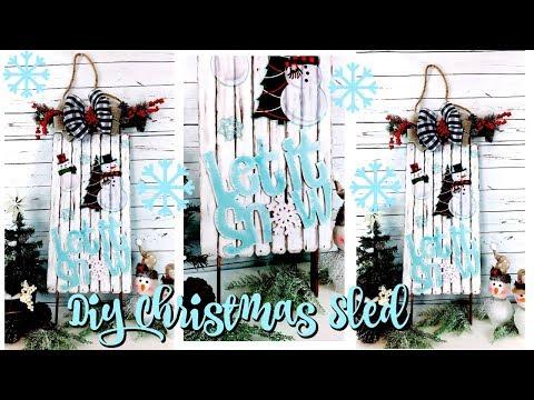 DIY DOLLAR TREE CHRISTMAS SLED // CHRISTMAS HOME DECOR // SNOWMAN DECOR