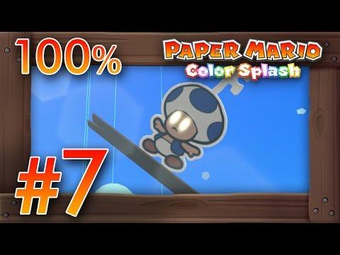 Paper Mario Color Splash 100% Walkthrough Part 7 | Bloo Bay Beach [100%] Wii U Gameplay