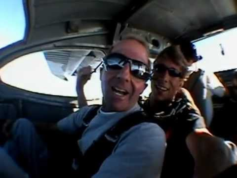 Matty Tee strapped to Mike the Master going skydiving with his buddy Josh.