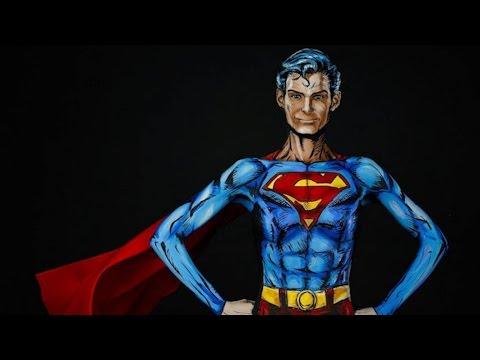 Step inside the studio as a body artist transforms into Superman