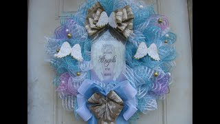 2019, Blue and white deco mesh Angel Wreath