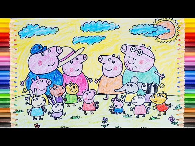 PEPPA PIG ! Draw Peppa Pig and Members in Children's Favorite Cartoons