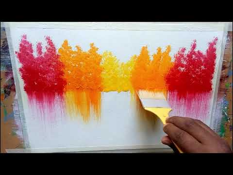 Easy Landscape Painting/Acrylic abstract / Relaxing / Project day # 022