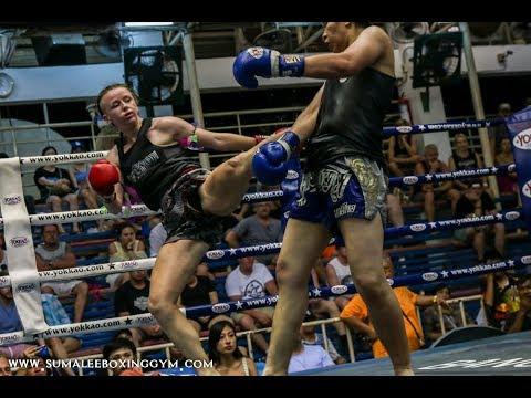 Scottish Muay Thai machine Rhona Walker Sumalee fights at Bangla Boxing Stadium, 20th April 2018