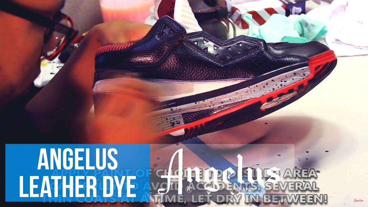 use Angelus Jet Black Leather Dye - YouTube