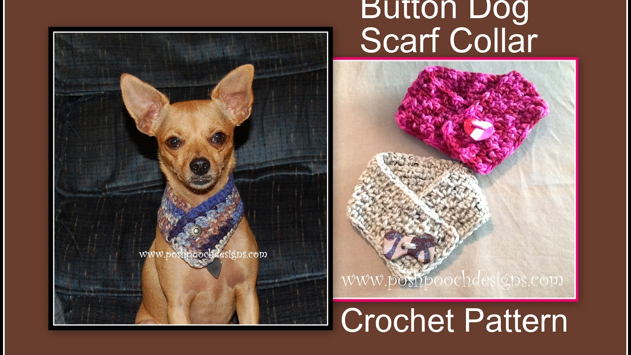 Button Dog Scarf Collar Crochet Pattern - YouTube