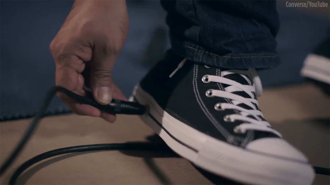 fcfe10a3c9bc5e Converse releases sneaker with a built-in wah-wah foot pedal - YouTube