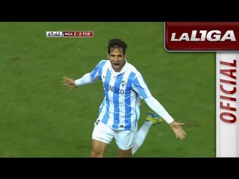 Gol de Santa Cruz (2-2) en el Málaga CF - FC Barcelona - HD
