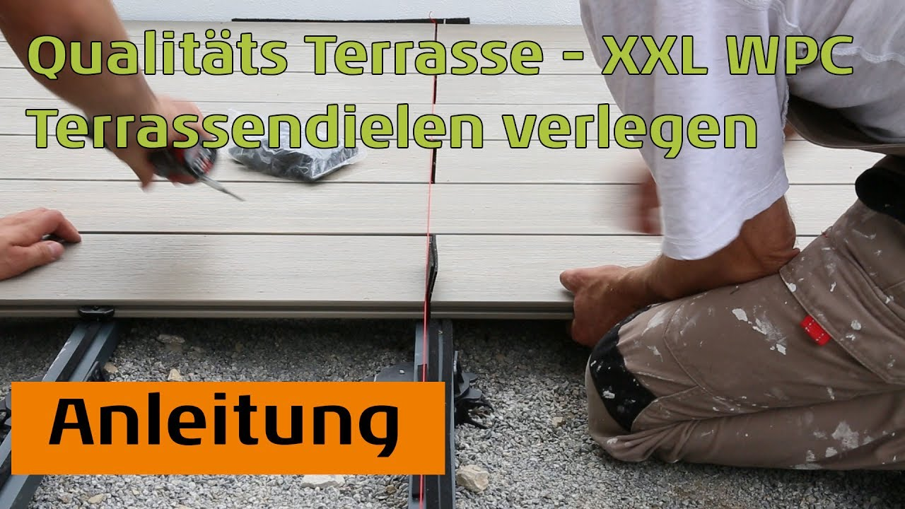 terrassendielen wpc xxl von planeo qualit tsterrasse verlegen youtube. Black Bedroom Furniture Sets. Home Design Ideas