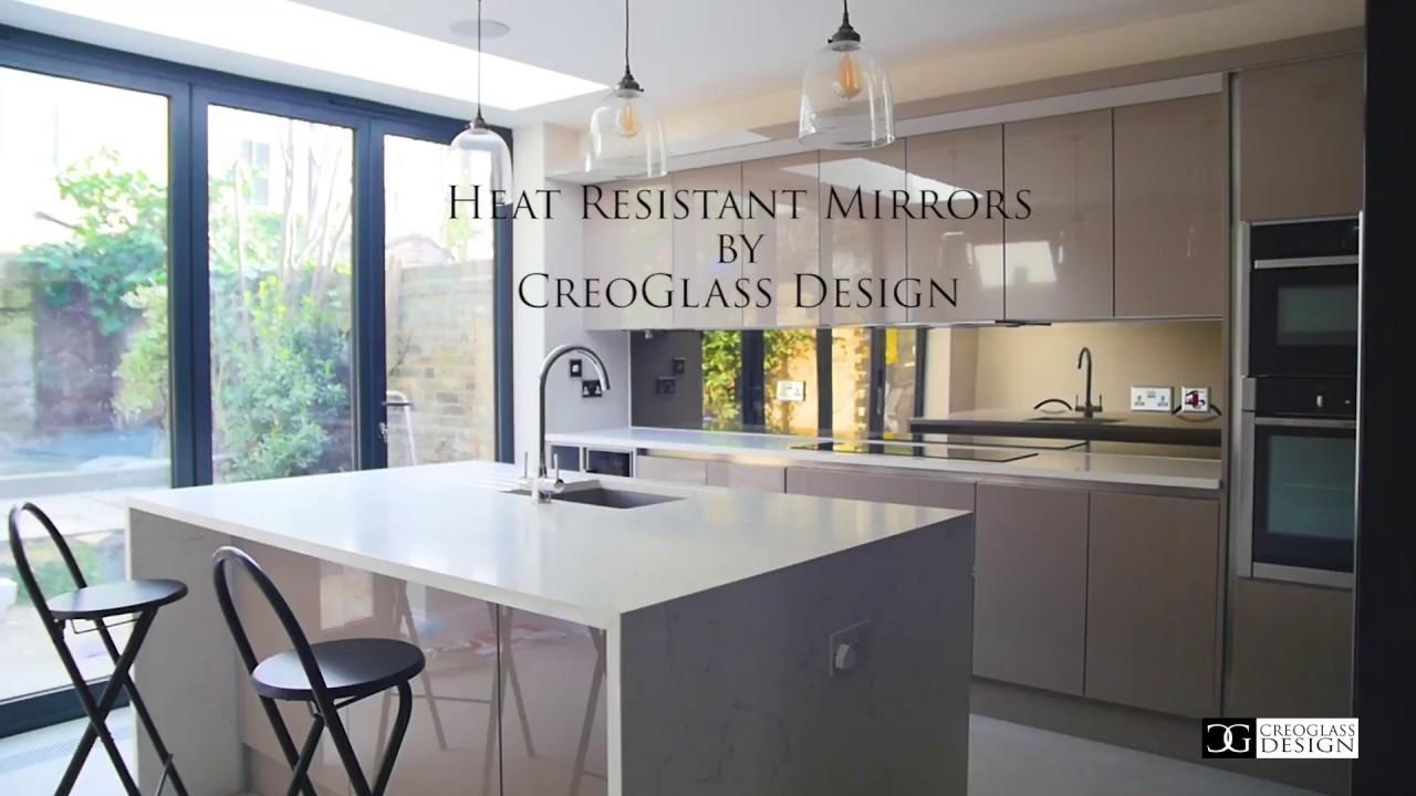 Heat Resistant Bronze Mirror By Creoglass Design Modern Kitchen Glass Splashbacks 01923 819 684 Youtube