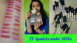 Affordable matte lipsticks in india || 24 lipsticks set N&N under 500rs