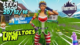 Fortnite Item Shop *NEW* TINSELTOES SKIN + CRACKDOWN EMOTE GAMEPLAY WIN! [December 20th, 2018]