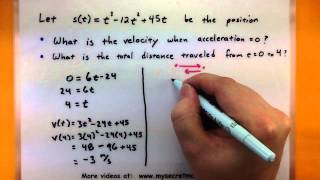Calculus - Working with position, velocity, and acceleration