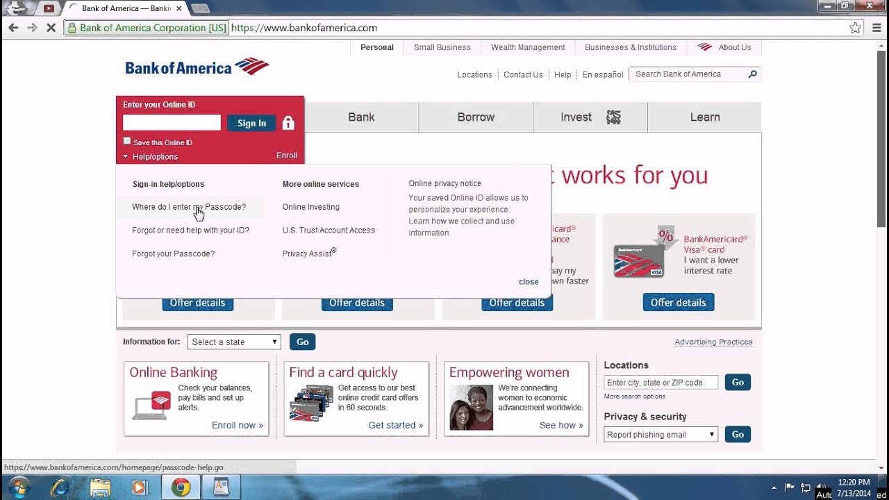 bank of america set up pin for credit card