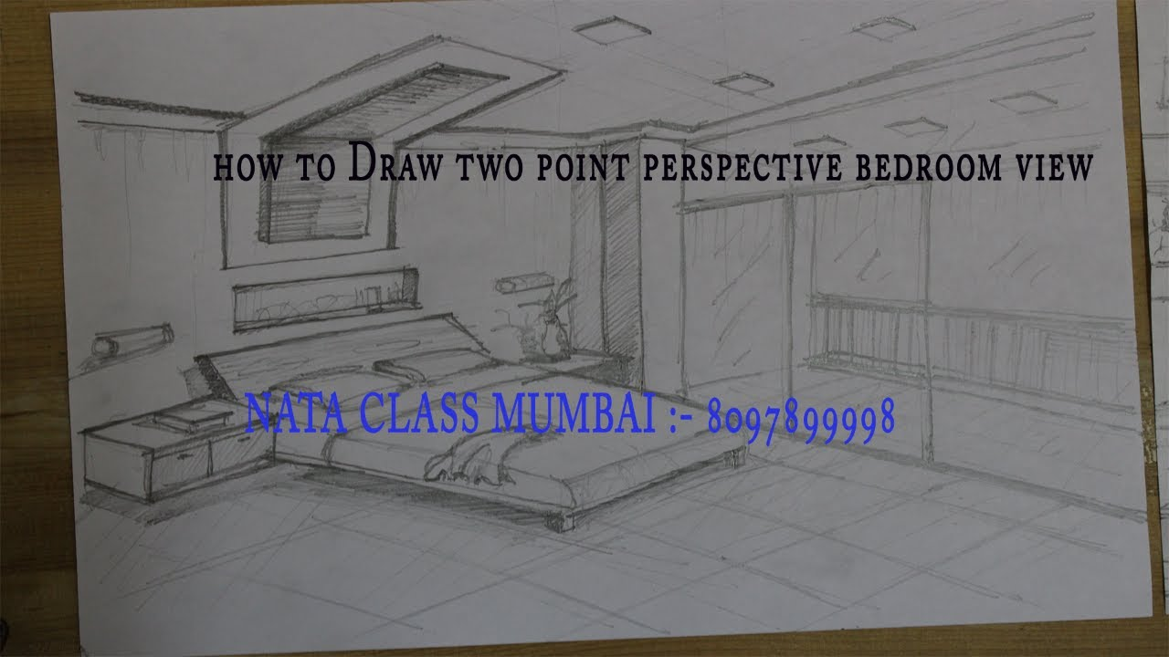 How to draw two point perspective bedroom view 2017 for Bedroom 2 point perspective