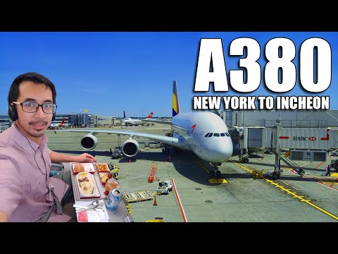 ASIANA AIRLINES A380 In-flight Experience - Economy Class - New York JFK To Incheon, South Korea