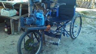 Инвалидная коляска с двигателем от бензопилы