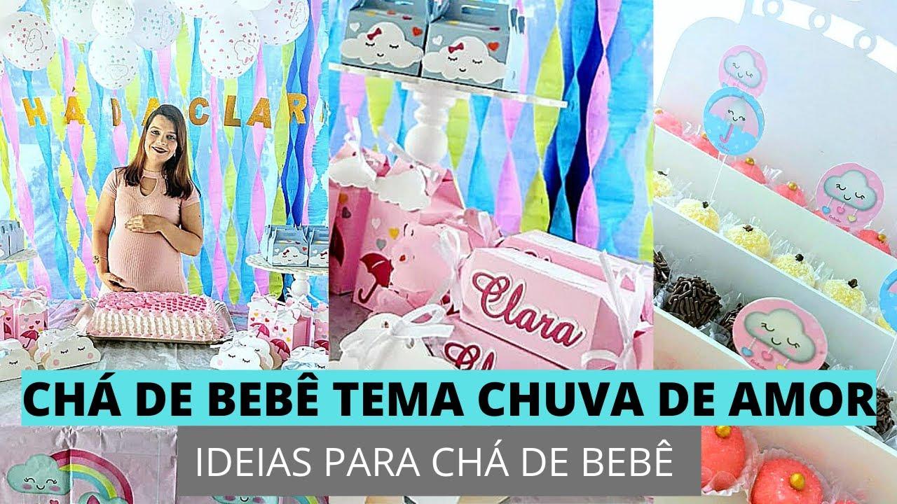Ideias para Chá com o tema Chuva de amor YouTube -> Decoração Cha De Fralda Chuva De Amor Simples