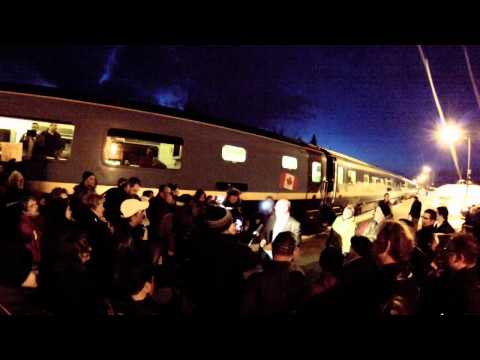 Via Rail protest to Federal Government cuts mar 23 2014 Bathurst NB