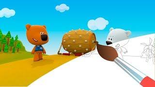 Раскраска с Ми-ми-мишками - Грибы и листья - Серия 3 - Учим цвета с мишками - мультики для малышей