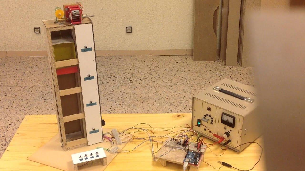Ascensor de 4 pisos con arduino uno youtube for Materiales para hacer un ascensor